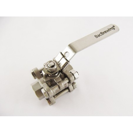 "1/2"" - 3 piece AISI316 stainless steel ball valve, removable"